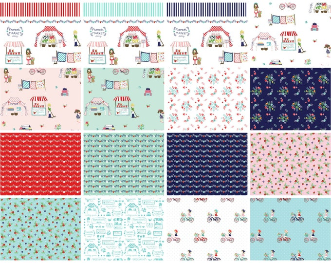 Vintage Market Bundle, Riley Blake cotton fabric - fat quarter set - 19 pieces