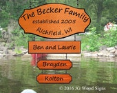 Personalized Family Name  with Large Addon and 2 Children's Names - Redwood Custom Carved Sign
