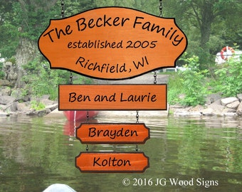 Wood Camping Sign with Large Addon and 2 Children's Names - Redwood Custom RV Sign - JG Wood Signs Etsy - Camper Name Sign Becker