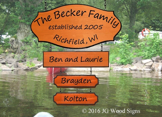 Wood Camping Sign with Large Addon and 2 Children's Names - Redwood Custom RV Sign - JG Wood Signs Etsy - Camper Name Sign