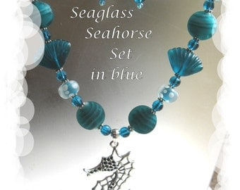 Seahorse and Blue Seaglass Necklace with Earrings