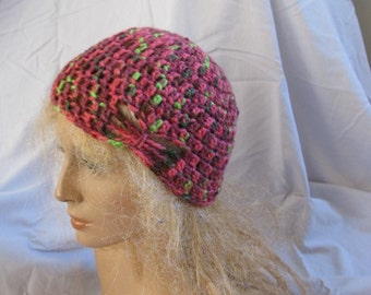 SALE - Butterfly Stitch Accent Beanie, Crochet Hat, Crochet Turban, Skullcap, Crochet Beanie, Turban - Multiple Colors Available