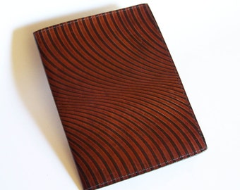 Leather Notebook Cover with Swirl Design - Fits 5x8 Inch Notepad (Small Legal Pad)