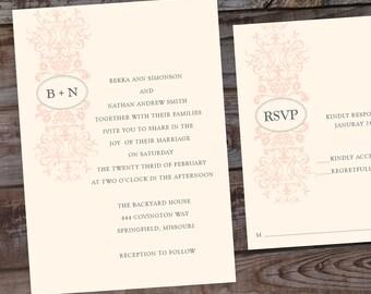 Elegant Invitations, Vintage Wedding Invites, Monogram Wedding Invitations, Vintage Wedding Invitations, Damask Wedding Invitations, Blush