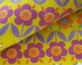 1960s Floral Cotton Fabric in Purple, Teal, Red Violet, Orange and Yellow / Concord Fabrics Inc