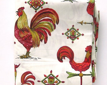 1950s Vintage Fabric - Kitchen Kitsch - Roosters and Weathervanes Cotton Yardage