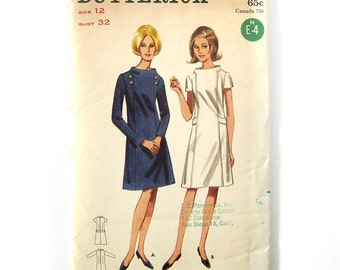 1960s Vintage Sewing Pattern / A-Line Dress with Stand-Away Neckline / Mod Dress / Butterick 4222 / Size 12