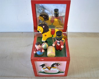 1970s vintage red music box with toy soldier, christmas boxes, children / Christmas music toy box