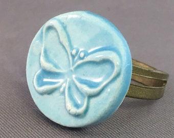 Porcelain Ring Flower Ring Ceramic Ring Blue Butterfly Round
