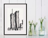 Pen and Ink  Sketch Drawing NYC World Trade Center  Black and White Print