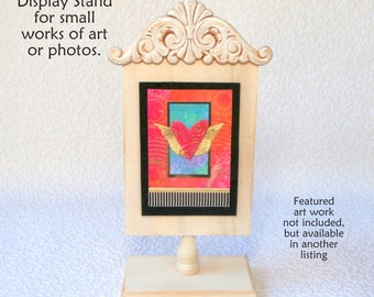 Wooden Display Stand for ATCs, ACEOs and photos, ivory whitewash finish, with magnetic attachment