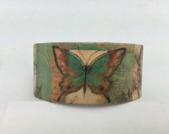 Butterfly Bracelet Decoupage Bracelet Cuff Bracelet butterfly cuff