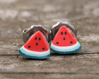 Miniature Food Jewelry Fruit Slice Earrings - Sweet and Sassy Watermelon Studs