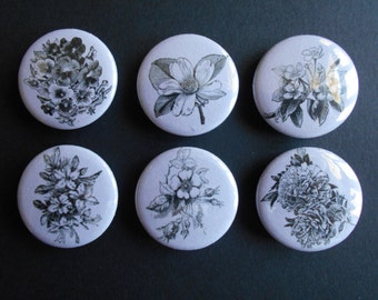 Flower Collection #2 Decorative Magnets in Purple and Black