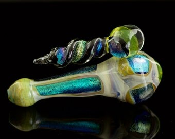 Titan Dichroic Illuminati Large Glass Spoon Pipe Hand Blown Thick Wall in Green Amber Purple & Rainbow 2 Ready to Ship #317