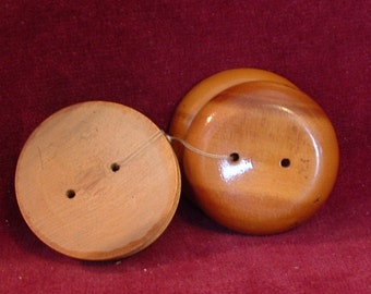 4 VINTAGE Large Round WOOD BUTTONS 2 Hole Light Brown Coat Buttons