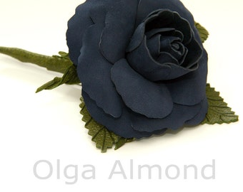 Blue Rose brooch. Leather rose. Leather brooch .Fantasy Leather jewelry.Leather flower