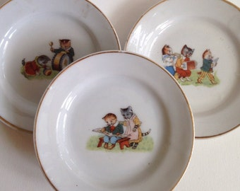 Three Very Sweet Little Children's Plates with Anthropomorphized Kittens
