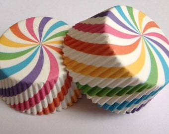 50 pcs Rainbow Swirl Cupcake Liners Wrappers