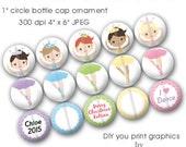 Editable Ballet Ornament Bottle Cap Collage Digital Set Circle 4x6 Ballerina Chrismas - Instant Download