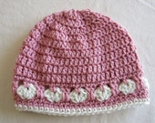 Crochet Hat with Hearts in Pink and Eggshell