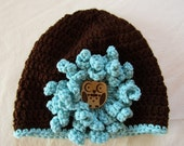 Brown & Iced Aqua Crocheted Hat with Flower and Owl Button, Child