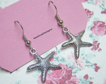 Starfish Earrings//Silver Starfish Earrings//Nautical Silver Earrings//Silver /Beach Earrings
