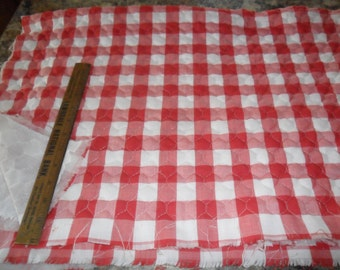 """Vintage Red & White Checkered Quilted Fabric 60"""" long x 38"""" width"""
