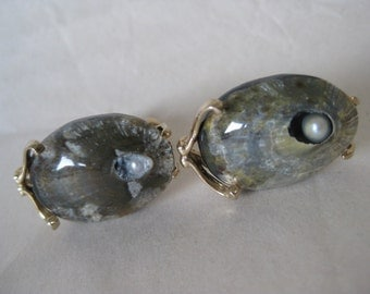 Shell Pearl Gray Gold Cuff Links Vintage