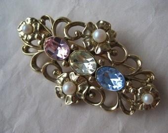 Flower Pink Blue Yellow Brooch Rhinestone Pearl Gold Vintage Filigree Pin