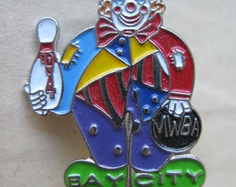 Clown Bowling MWBA Pin Bay City Brooch Vintage 1994