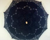 Black Panaled Lace Parasol