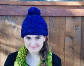 Hand Knit Super Soft Wool Hat with Pom Pom