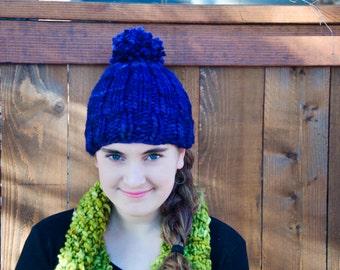 Hand Knit Super Soft Wool Hat with Pom Pom