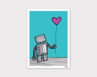 Robot with a Heart Balloon Print