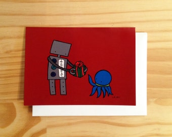 Holiday Greeting Card, Robot and Octopus Christmas Card, Red