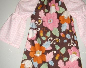 Girls Fall dress brown floral dress pink chevron  long sleeve peasant  tunic dress sizes ,2t,3t,4t,5t, 6,7, 8