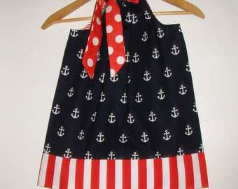Red white Blue pillowcase sizes nautical pillowcase dress 3,6,9,12.18 months ,2t,3t,4t,5t,6,7,8,10,12.14