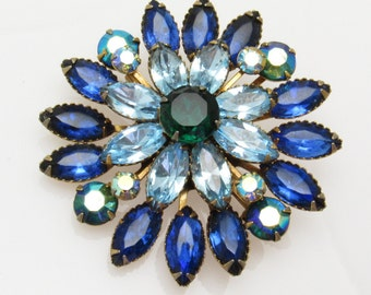 Vintage Blue Rhinestone Brooch Layered Riveted Jewelry P7423