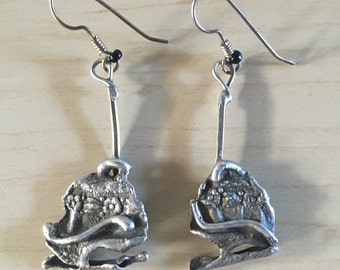 Mid Century Modern Brutalist silver earrings - Handmade - 1960s