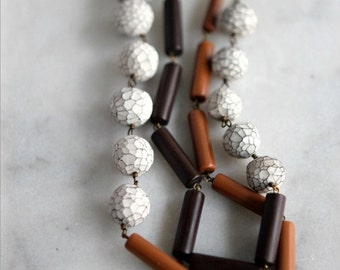 October Sale Cocoa Brown Necklace with Faceted White Beads, Caramel Ochre, Polymer Clay, Layering Necklace, Neutrals