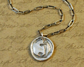 J initial, precious metal clay, fine silver, wax seal style, charm, pendant, letter, rustic, silver clay, simple, long box cable chain