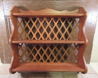 Nice solid wood three tier wall shelf with plate rails and lattice backing- minor surface wear, fine condition, solid
