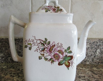 Antique Meakin white ironstone teapot with lid and floral transfer ware design- beautiful, solid, functional