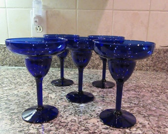 Set of 5 beautiful cobalt blue glass marguerita glasses for one price- great condition, beautfiful