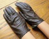 Vintage Leather Gloves, Brown Leather Gloves, Leather Driving Gloves, Grandoe Gloves, Brown Gloves, Mad Men Style, 1950's Fashion