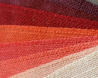 15 inch PEACH, Orange, CORAL, Red, Burgundy or IVORY Burlap  -  3  yards