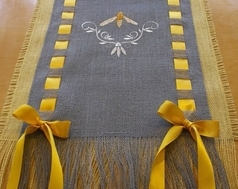 Sunny Bumble Bee  Burlap Runner with Satin Ribbon