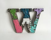 """Tin Ceiling Wrapped 8"""" Patchwork Reclaimed Metal Letter """"W"""" Mosaic Wall Hanging 192-16 Multi-Color"""