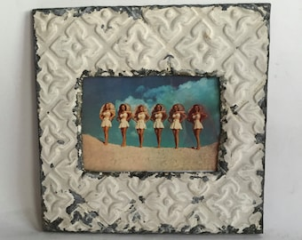 Tin Ceiling Picture Frame Ivory RECLAIMED Shabby 5x7 06-16